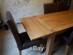 Contemporary Classic Oak Dining Table and 8 matching Leather Upholstered Chairs