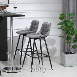 Counter Chairs Set of 2 Dining Chairs Bar Stools Fabric Upholstered seat