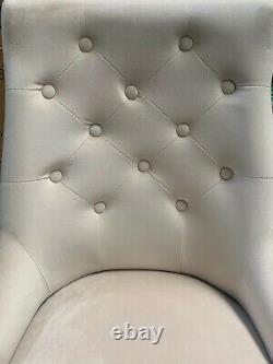 Cream Brushed Velvet Chelsea Ring Knocker Wood Legs Button Back Stud Detail