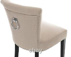 Cream Linen Scroll Top Dining Chair With Knocker Button Back Upholstered Chair