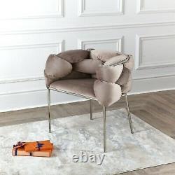 Cream Oyster Velvet Tub/Dining Chair Accent Chair Hugging Upholstered Chrome Leg