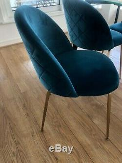 Cult Heather Dining Chairs Velvet Upholstered Teal x4