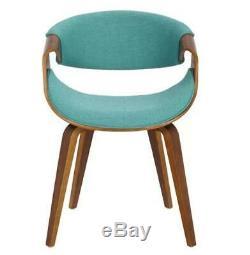 Curvo Blue Upholstered Dining Chair Dark Wood Legs 28cm H x 21cm W x 24.50cm D