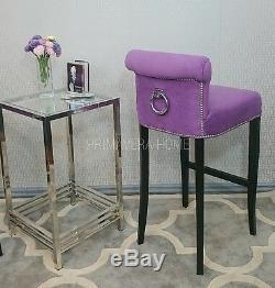 DINING CHAIR LARGO BARSTOOL upholstered padded bespoke glamour style velvet ring