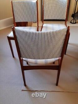 Danish dining chairs vintage / retro upholstered in blue stripe fabric