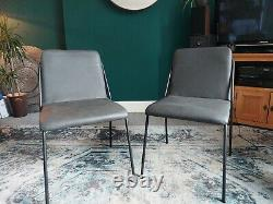 Dark Grey Real Leather Upholstered Quality Dining Chairs 10x chairs