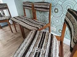 Delightful Original 1970s Mid-Century Upholstered Solid Teak Dining Chairs