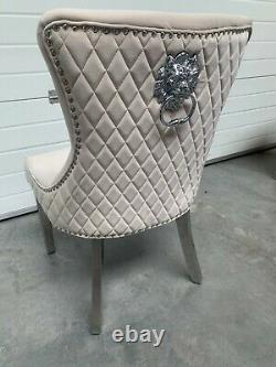 Dianne Brushed Beige Velvet Dining Chair Quilt Back Lion Knocker Metal Leg