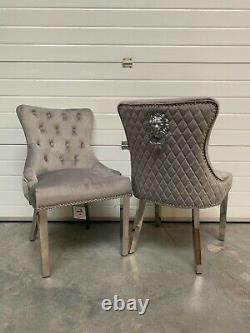 Dianne Brushed Light Grey Dining Chair Quilted Back Lion Knocker Metal Legs