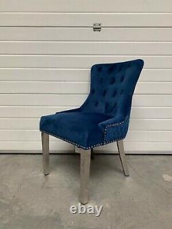 Dianne Brushed Royal Blue Velvet Dining Chair Quilt Back Lion Knocker Metal Leg