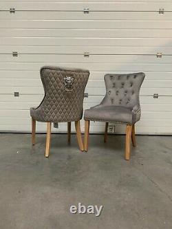 Dianne Luxury Light Grey Velvet Lion Knocker Quilted Back Dining Chair Wood Legs