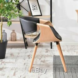 Dining Chair BENT Upholstered Chair Wooden Legs PU Leather Kitchen Chair