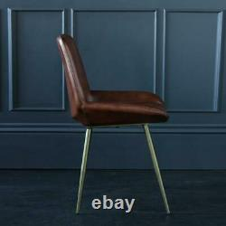 Dining Chair Brown Buffalo Leather Seat with Gold Base 49 cm Kitchen Brooklyn
