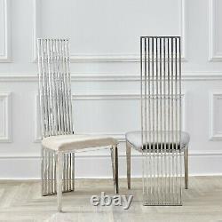 Dining Chairs Cream Oyster Velvet Silver Chrome Retro Modern High Back Linear
