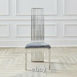 Dining Chairs Grey Velvet Seat Silver Chrome Retro Modern Tall High Back Linear