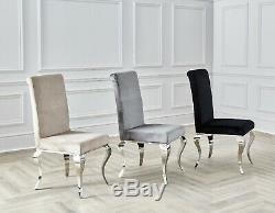 Dining Chairs Louis Velvet Champagne Mink Metal Legs Upholstered Fabric Chairs