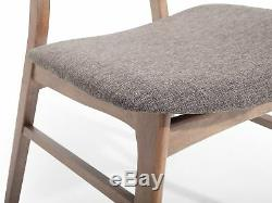 Dining Room 2 Chair Set Fabric Upholstered Grey Dark Wood Lynn