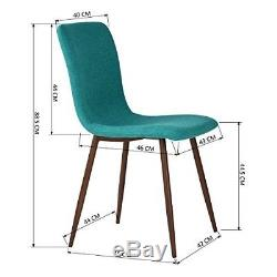 Dining Room Chairs x 4 Fabric Upholstered Kitchen Seat Set Wood Leg Office Green