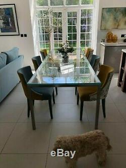 Dining Table Glass And S/steel Large With 6 Quality Upholstered Chairs