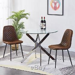 Dining Table Set And 4 Chairs Brown Suede Upholstered Seat Metal Leg Kitchen