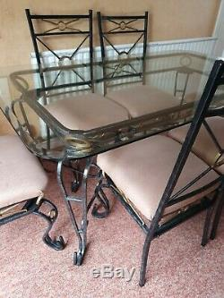 Dining Table and six 6x Upholstered Chairs Set Glass Top Metal Frame