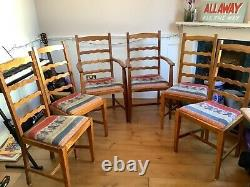 Dining chairs set of 6 with 2 carvers. Antique golden oak. Upholstered seats