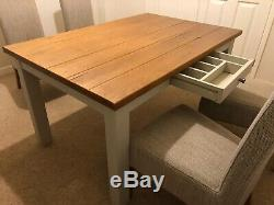 Dining table & 4 chairs Next, wooden/grey, beige upholstered dining chairs