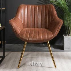 Distressed Upholstered Leather Dining Chairs Kitchen Armchair Golden Legs Seat 2
