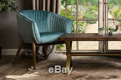 Duck Egg Blue Velvet Upholstered Tub Chair Bucket Armchair Tub Dining Chair