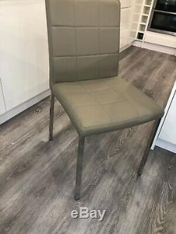 Dwell Jenkins Faux Leather Dining Chair Set (6 Chairs), Stone Grey Colour