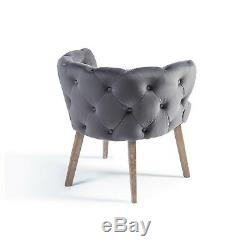 EGB10 Richmond Grey Brushed Velvet Button Upholstered Tub Dining Arm Chair