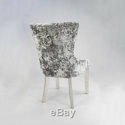 EGB83-PHS Premium Grey Crushed Velvet Wingback Upholstered Dining Chair Set of 8