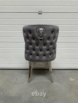 Eaton Luxury Dark Grey Velvet Lion Knocker Button Back Dining Chair Metal Legs