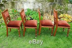 Edwardian Carved Walnut Set of 4 Upholstered Dining Chairs C1905