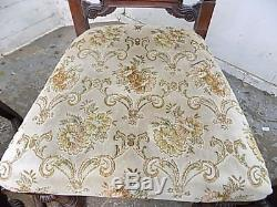 Edwardian, dining chairs, carved, floral, upholstered, castors, four, antique, mahogany