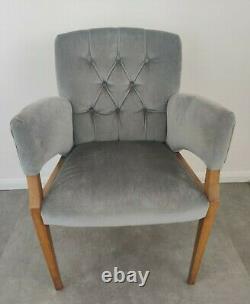 Elegant Antique Velvet Upholstered Dining Chair armchair Blue/Grey