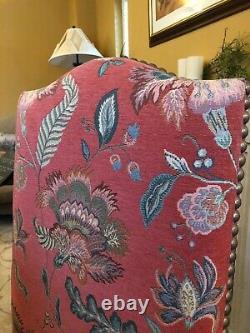 Elegant designer custom made upholstered dining chairs, dark wooden frames