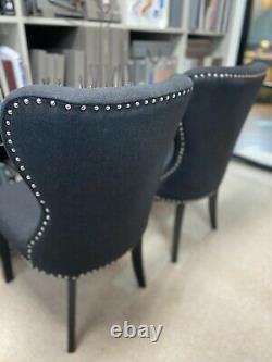 Ex Display 2 X Black Upholstered Dining Chairs With Stud Detail