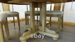 Extendable Dining Table and Six Upholstered Chairs-American Oak Finish Very Good
