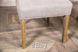 Fabric Dining Chair In Stone Buttoned Chair Upholstered Chair With Brass Studs