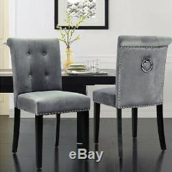 Fabric Velvet Dining Chair Bedroom Upholstered Side Chairs With Knocker Back 2/4