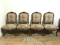 Fabulous set of 4x antique dining chairs with tapestry upholstered padded seats