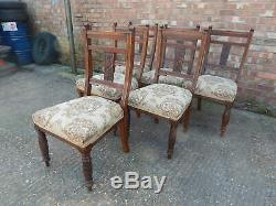 Fabulous set of 6x antique mahogany upholstered dining chairs carved & turned