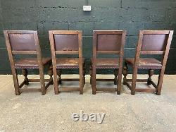 Four Leather Upholstered Antique Oak Dining Chairs