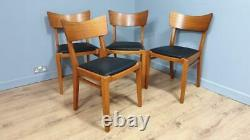 Four Mid Century Teak G Plan Butterfly Dining Chairs Upholstered Seats Retro