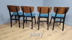 Four Mid Century Teak Remploy Butterfly Dining Chairs Upholstered Seats Retro