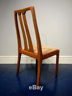 Four Nathan upholstered teak dining chairs retro vintage mid century Gplan era