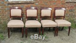 Four Victorian Mahogany, dining chairs with Upholstered seats & backs. C1850