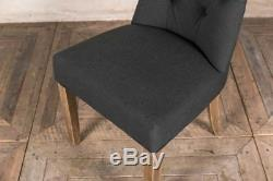 French Style Chair In Pewter Grey Upholstered Dining Chair With Button Back