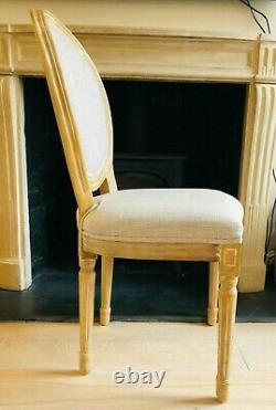 French dining chairs PAIR, pine wood upholstered cream fabric, perfect condition